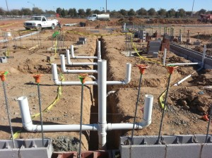 Plumbing works in construction